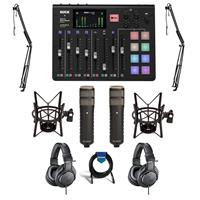 Image of Rode Microphones RODECaster Pro Integrated Podcast Production Console - Bundle With 2x Rode Procaster Broadcast Dynamic Cardioid Mic, 2x On-Stage MBS5000 Boom Arm, 2x A-T ATH-M20x Pro Monitor Headphones, And More