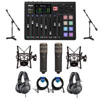 Image of Rode Microphones RODECaster Pro Integrated Podcast Production Console - Bundle With 2x Rode Procaster Broadcast Dynamic Cardioid Mic, 2x A-T ATH-M20x Pro Monitor Headphones, 2x Samson MB1 Mini Boom Stand And More