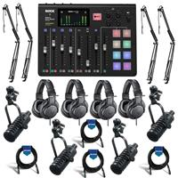 Image of Rode Microphones RODECaster Pro Integrated Podcast Production Console - Bundle With 4x MXL BCD-1 Live Broadcast Dynamic Mic , 4x On-Stage MBS5000 Boom Arm , 4x A-T ATH-M20x Monitor Headphones, 4x 20' Cable