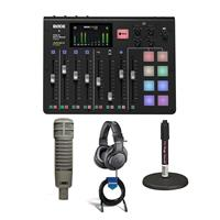 Image of Rode Microphones RODECaster Pro Integrated Podcast Production Console - Bundle With Electro-Voice RE20 Variable-D Dynamic Cardioid Mic, On-Stage DS7200B Mic Stand, A-T ATH-M20x Pro Monitor Headphone, 20' XLR Mic Cable