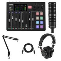 Image of Rode Microphones RODECaster Pro Integrated Podcast Production Console Bundle with H&A AC50 Cardioid Broadcast Microphone, Broadcast Arm, Monitor Headphones, XLR M to XLR F Mic Cable 15-Foot