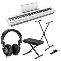 Image of Roland FP-30X 88 Keys SuperNATURAL Portable Digital Piano, White Bundle with H&A Studio Monitor Headphones, Keyboard Stand, Bench and Sustain Pedal