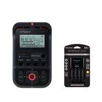 Image of Roland R-07 Portable High-Resolution Audio Recorder - Black - With Panasonic Charger with 4 Pro Eneloop AA Size Batteries