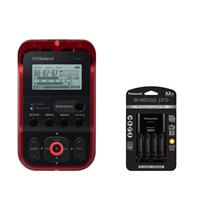 Image of Roland R-07 Portable High-Resolution Audio Recorder - RED - With Panasonic Charger with 4 Pro Eneloop AA Size Batteries