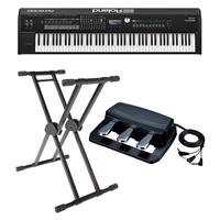 """Roland RD-2000 88 Weighted Keys Digital Stage Piano - Bundle With Roland RPU-3 Pedal Unit with 3 Separate 1/4"""" Jacks, KS-20X Double Brace Keyboard X-Stand"""