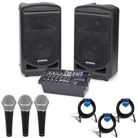 Image of Samson Expedition XP800 800W Portable PA System with Bluetooth, Includes Dual 2-way Speakers, Onboard Mixer, Amplifier - Bundle With Samson R21 Vocal/Recording Microphone 3 Pack, 3X 20' XLR Mic Cable