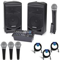 Image of Samson Expedition XP800 800W Portable PA System with Bluetooth, Includes Dual 2-way Speakers, Onboard Mixer - Bundle With R21 Vocal/Recording Microphone 3 Pack, Stage XPD2 USB Wireless System, Cables