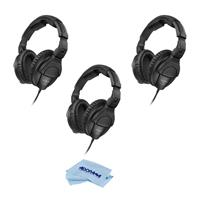 Sennheiser 3Pack HD 280 PRO Closed Around-the-Ear Monitoring Headphones - With Microfiber Cloth