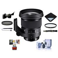 Image of Sigma 105mm f/1.4 DG ART HSM Lens for Nikon DSLR - Bundle With 105mm UV Filter, 105mm CPL Filter, Flex Lens Shade, Lens Wrap, Cleaning Kit, Capleash II, Lens Cleaner, Mac Software Package