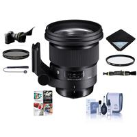 Image of Sigma 105mm f/1.4 DG ART HSM Lens for Sony E-mount - Bundle With 105mm UV Filter, 105mm CPL Filter, Flex Lens Shade, Lens Wrap, Cleaning Kit, Capleash II, Lens Cleaner, Pc Software Package