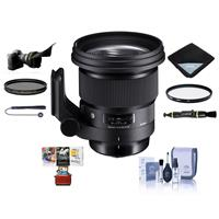 Image of Sigma 105mm f/1.4 DG ART HSM Lens for Sony E-mount - Bundle With 105mm UV Filter, 105mm CPL Filter, Flex Lens Shade, Lens Wrap, Cleaning Kit, Capleash II, Lens Cleaner, Mac Software Package
