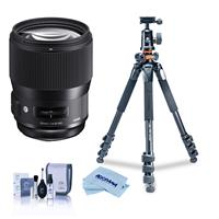 Image of Sigma 135mm f/1.8 DG HSM IF ART Lens for Sigma DSLR Cameras - Bundle With Vanguard Alta Pro 264AT Tripod and TBH-100 Head with Arca-Swiss Type QR Plate, Cleaning Kit, Microfiber Cloth