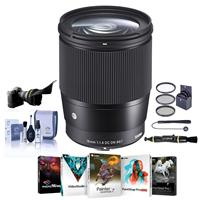 Image of Sigma 16mm f/1.4 DC DN Contemporary Lens for Canon EF-M Cameras Black - Bundle With 67mm Filter Kit, Flex Lens Shade, Cleaning Kit, Capleash II, Lens Cleaner, PC Software Package