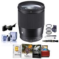 Image of Sigma 16mm f/1.4 DC DN Contemporary Lens for Canon EF-M Cameras Black - Bundle With 67mm Filter Kit, Flex Lens Shade, Cleaning Kit, Capleash II, Lens Cleaner, Mac Software Package