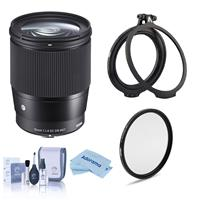Image of Sigma 16mm f/1.4 DC DN Contemporary Lens for Canon EF-M, Bundle with Filter Kit