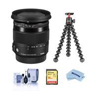 Image of Sigma 17-70mm f/2.8-4 DC Macro OS (Optical Stabilizer) HSM Lens for Nikon DSLR Cameras - Bundle With Joby GorillaPod 3K Kit Black, 16GB SDHC U3 Card, Cleaning Kit, Microfiber Cloth