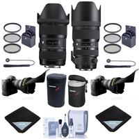 Image of Sigma 18-35mm F/1.8 DC HSM ART Lens with 50-100mm f/1.8 DC HSM Art Lens for Nikon SLR Cameras - Bundle w/2x Filter Kits, 2x Lens Case, 2x Lens Wrap, 2x LensCap Leash, 2x Flex Lens Shade, Cleaning Kit