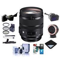 Image of Sigma 24-70mm F2.8 DG OS HSM IF ART Lens for Nikon Cameras - Bundle With 82mm Filter Kit, Peak Lens Changing Kit Adapter, Flex Lens Shade, FocusShifter DSLR Follow Focus, Software Package, And More