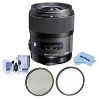 Image of Sigma 35mm f/1.4 DG HSM ART Lens for Canon EF - Bundle With Haida 67mm NanoPro MC Circular Polarizer Filter, Haida 67mm NanoPro MC Clear Filter, Cleaning Kit, Microfiber Cloth