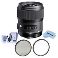 Image of Sigma 35mm f/1.4 DG HSM ART Lens for Nikon AF Cameras - USA Warranty - Bundle With Haida 67mm NanoPro MC Circular Polarizer Filter, Haida 67mm NanoPro MC Clear Filter, Cleaning Kit, Microfiber Cloth