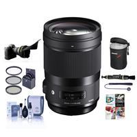 Image of Sigma 40mm f/1.4 DG HSM ART Lens for Nikon DSLR Cameras - Bundle With 82mm Filter Kit, Lens Case, Flex Lens Shade, Cleaning Kit, Lens Cleaner, Capleash, PC Software Package