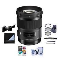 Image of Sigma 50mm f/1.4 DG HSM ART Lens for Canon EF - USA Warranty - Bundle with 77mm Filter Kit, Flex Lens Shade, Lens Wrap (19x19), Cleaning Kit, Cap Leash, Lens pen Lens Cleaner, PC Software Packaage