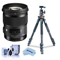 Image of Sigma 50mm f/1.4 DG HSM ART Lens for Nikon DSLR Cameras - USA Warranty - Bundle With Vanguard Alta Pro 264AT Tripod and TBH-100 Head with Arca-Swiss Type QR Plate, Cleaning Kit, Microfiber Cloth