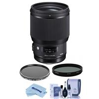 Image of Sigma 85mm f/1.4 DG HSM ART Lens for Sigma DSLRs - Bundle With Bower 86mm Circular Polarizer Filter, Bower 86mm Variable Neutral Density (ND) Filter 2 to 8 Stops, Cleaning Kit, Microfiber Cloth