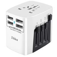 Image of Sanho Zikko 25W 4-Port USB Type-A Worldwide Travel Adapter, Pearl White