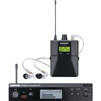 Image of Shure PSM 300 Stereo Personal Monitor System with SE215 Earphones, J13:566-590MHz, Includes P3T-G20 Wireless Transmitter, P3R-G20 Wireless Bodypack Receiver