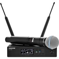 Image of Shure QLXD24/B58 VHF Handheld Wireless Microphone System, Includes QLXD2/BETA58A Handheld Wireless Microphone Transmitter and QLXD4 Digital Wireless Receiver, V50: 174.120 to 215.820 MHz Frequency Band