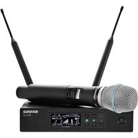 Image of Shure QLXD24/B87A VHF Handheld Wireless Microphone System, Includes QLXD2/BETA87A Handheld Wireless Microphone Transmitter and QLXD4 Digital Wireless Receiver, V50: 174.120 to 215.820 MHz Frequency Band