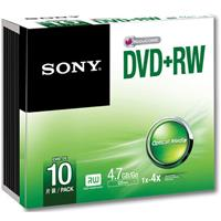 Sony DVD+RW 4.7GB Storage Media Disc, 10-Pack