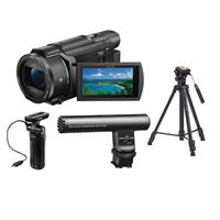 """Image of Sony FDR-AX53 16.6MP 4K Ultra HD Handycam 20x Optical Zoom Vlogger Kit - with Sony ECM-GZ1M Zoom Microphone, Sony GPVPT1 Shooting Grip with Mini Tripod - Takama 66"""" 3 Section Video Tripod w/Fluid Head"""