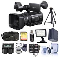 Sony HXR-NX100 Professional Compact Camcorder - Bundle With 64GB U3 SDHC Card, Spare Battery, 62mm Filter Kit, Video Light, Tripod, Video Bag, Dual charger, Cleaning Kit, Card Reader, Memory Wallet