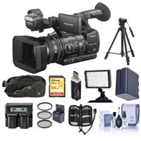 Sony HXR-NX5R NXCAM Professional Camcorder - Bundle With 64GB U3 SDHC Card, Spare Battery, 72mm Filter Kit, Video Light, Tripod, Video Bag, Dual charger, Cleaning Kit, Card Reader, Memory Wallet