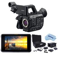 "Sony PXW-FS5M2 4K XDCAM Compact Handheld Camcorder with Super 35 CMOS Sensor, Body Only - Bundle With Atomos Shogun 7 7"" HDR Pro/Cinema Monitor-Recorder-Switcher, Atomos Accessory Kit, Cloth"
