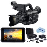 """Sony PXW-FS5M2 4K XDCAM Compact Handheld Camcorder with Super 35 CMOS Sensor and 18-105mm f/4 G OSS E-Mount Zoom Lens - Bundle With Atomos Shogun 7 7"""" HDR Pro/Cinema Monitor, Atomos Accessory Kit"""