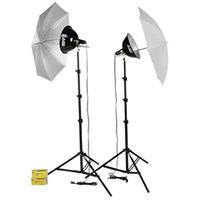 Image of Smith-Victor KT500U, 500 watt Photoflood Light Kit with Umbrellas