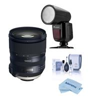 Image of Tamron SP 24-70mm f/2.8 Di VC USD G2 Lens for Nikon F Mount - With Flashpoint Zoom Li-on X R2 TTL On-Camera Round Flash Speedlight For Nikon, Cleaning Kit, Microfiber Cloth