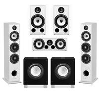 Triangle Borea 5.1.2 Surround Sound Speaker Package in White with Rel Acoustics T/7i Subwoofers