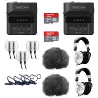 Image of Tascam 2 Pack DR-10L Digital Recorder and Lavalier Combo - Bundle With 2 Pack Behringer HPS3000 Studio Headphones, 2 Pack 32GB MicroSDHC Card, 2 Pack Rycote 065514 Lavalier Windjammer Black And More