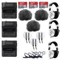 Image of Tascam 3 Pack DR-10L Digital Recorder and Lavalier Combo - Bundle With 3 Pack Behringer HPS3000 Studio Headphones, 3 Pack 32GB MicroSDHC Card, 3 Pack Rycote 065514 Lavalier Windjammer Black And More