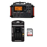 Image of Tascam DR-60D MKII Portable Recorder for DSLR - Bundle With 32GB SDHC Card, Panasonic Charger with 4 Pro Eneloop AA Size Batteries