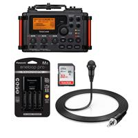 Image of Tascam DR-60D MKII Portable Recorder for DSLR - Bundle With 32GB SDHC Card, Panasonic Charger with 4 Pro Eneloop AA Size Batteries, Sennheiser ME 2-II Omnidirectional Lavalier Microphone Black