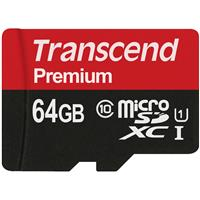Transcend 64GB Premium Class 10 UHS-I microSDHC U1 Memory Card with SD Adapter, 90MB/s Read
