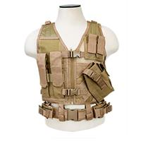 Image of NcSTAR Vism Children's Tactical Vest, Size 8 to 13 Year Olds, Fits X-Small to Small, Tan
