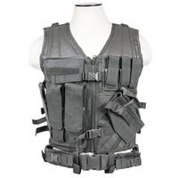 Image of NcSTAR Vism Large Tactical Vest, Fits X-Large to XX-Large+ T-Shirt Sizes, Urban Gray