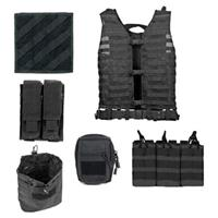 Image of NcSTAR Vism Zombie Rezurrection Alpha Kit with Vest, MOLLE Panel, 4 Pouches, Black