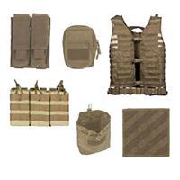 Image of NcSTAR Vism Zombie Rezurrection Alpha Kit with Vest, MOLLE Panel, 4 Pouches, Tan
